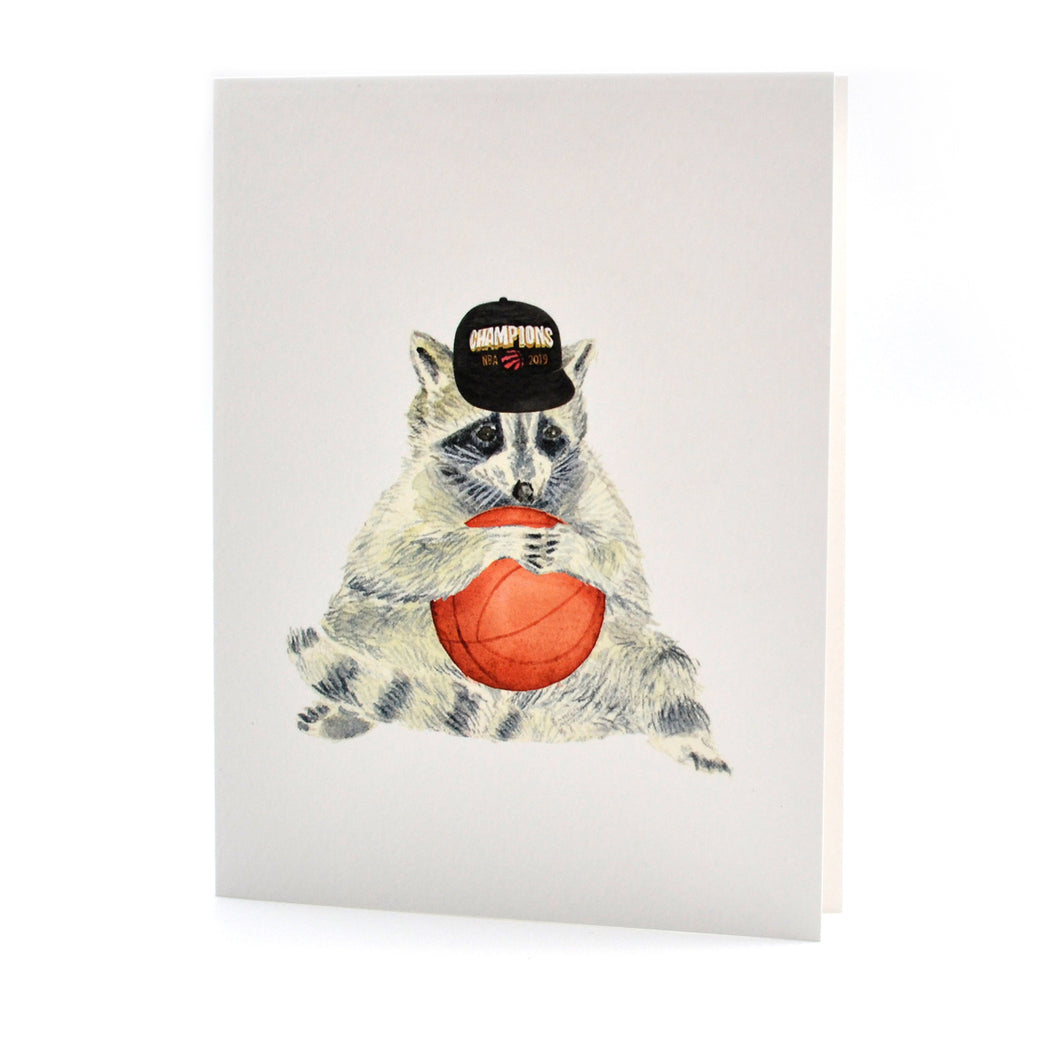 Raptors Cap Raccoon Card