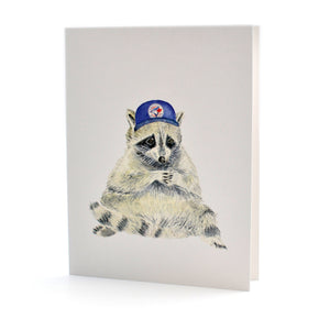 Blue Jays Cap Raccoon Card