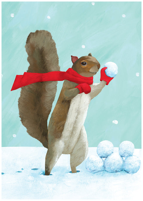 Squirrel Snowball Fight Holiday Card Boxed Set