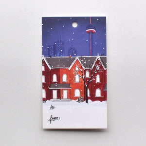 Toronto Snowy Night Holiday Gift Tag