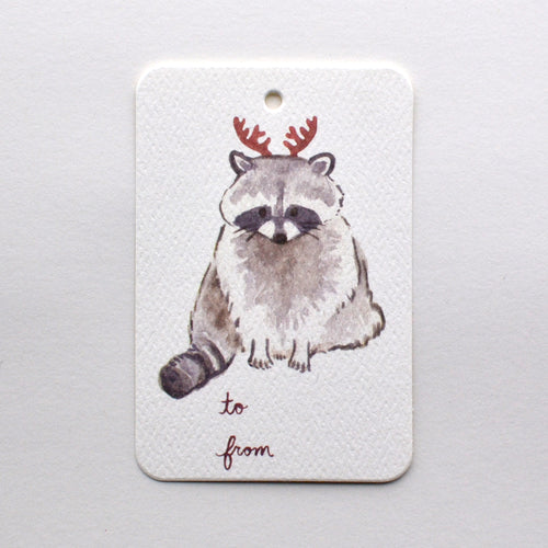 Raccoon with Antlers Christmas Holiday Gift Tag