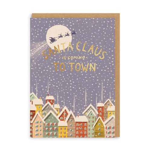 Santa Claus is Coming to Town Christmas Card