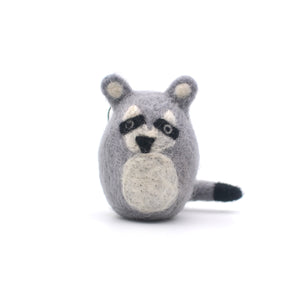 Roly-Poly Raccoon Wool Christmas Ornament