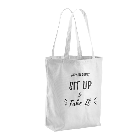 Sit Up & Fake It Canvas Tote