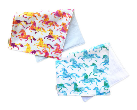 Boho Horses Baby Burp Cloth