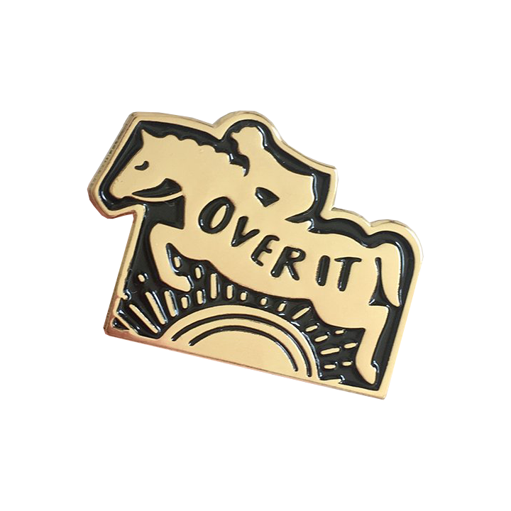 Over It Enamel Horse Jumper Pin