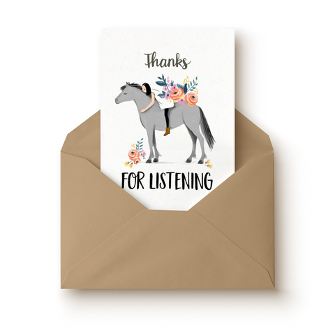 Horse Thank You For Listening Greeting Card