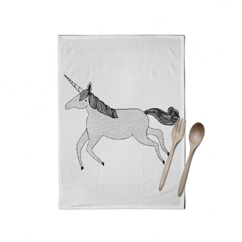 Hand Drawn Unicorn Tea Towel