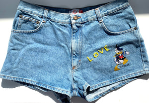 Disney hand embroidered denim shorts