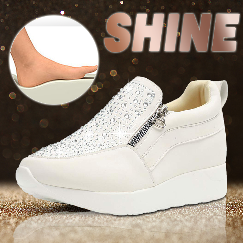 Woman Comfy Platform Trainers Zip Sneakers