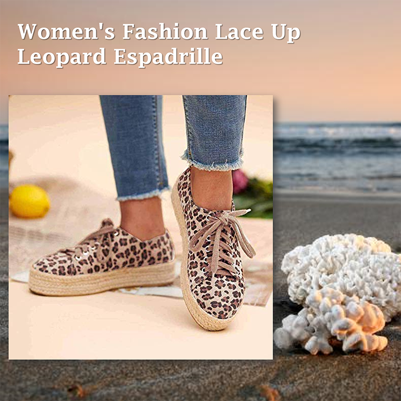 ◤NEW STYLE◢Women's Fashion Lace Up Leopard Sneakers