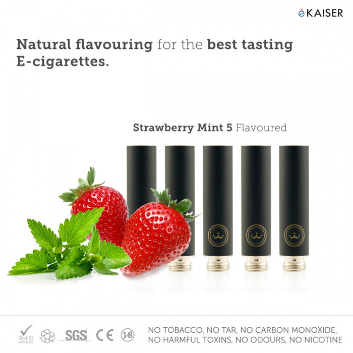 E shisha E Liquid 5 Pack Black Cartomizer *Strawberry Mint Flavour* - eKaiser - CIGEE Cigarette Cartomizers