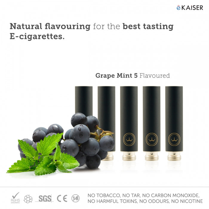 E Cigarette E Liquid 5 Pack Black Cartomizer *Grape Mint Flavour* - eKaiser - CIGEE Cigarette Cartomizers