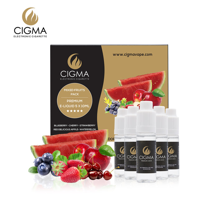 CIGMA 5 X 10ml 0mg E Liquid Mixed Fruits | Red Apple, Blueberry, Cherry, Strawberry & Watermelon | Cigee