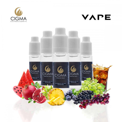 CIGMA 5 X 10ml E Liquid Summer Vibes Mix | Watermelon Ice cream | Hawi Punch | Pear Huckleberry | Cola | Pomegranate