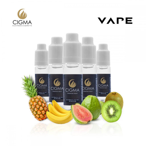 CIGMA 5 X 10ml E Liquid Tropical Fantasy Mix | Pineapple | Mint | Banana | Guava Apricot | Kiwi cantaloupe