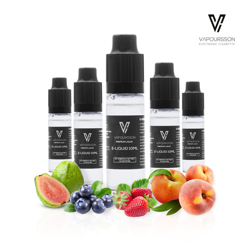 VAPOURSSON 5 X 10ml E Liquid Summertime Happiness | Summer Ray | Florid Blue | Red Lemon | Fancy Peach | Berry Burst