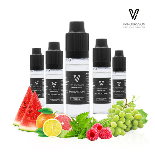 VAPOURSSON 5 X 10ml E Liquid Juicy Cloud Mix | Berry Burst | Icy Orange | Grape Punch | Raspberry Blast | Watermelon