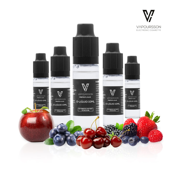 VAPOURSSON 5 X 10ml E Liquid Enchanted Forest Mix | Berry Burst | Strawberry Pie | Florid Blue | Cherry | Fruity Apple