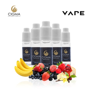CIGMA 5 X 10ml E Liquid Sweet Desire Mix | Cheesecake | Vanilla Custard | Banana Goodness | Blueberry Blackberry Custard | Strawberry Ice cake