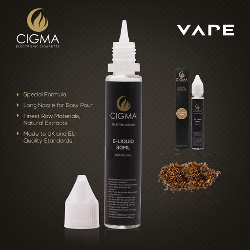 CIGMA Classic Tobacco 30ml E Liquid 0mg | New Short fill bottles | Premium Quality Formula with Only High Grade Ingredients | Made For Electronic Cigarette and E Shisha | Eliquid