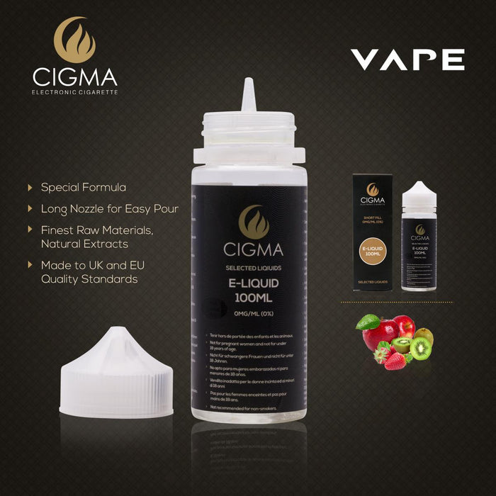 Shortfill, 100ml, 0mg, Cigma, Apple Kiwi Strawberry
