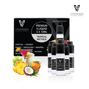 VAPOURSSON 5 X 10ml E Liquid Tropical Pack | Pinacolada | Cocktail | Pineapple | Mango | Coconut | Only High-Grade Ingredients used | VG & PG Mix