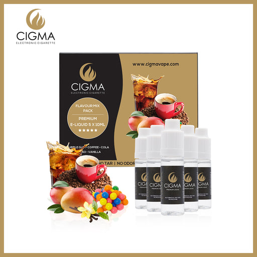 CIGMA 5 X 10ml E Liquid Flavour Pack | Bubble Gum | Cola | Coffee | Mango | Vanilla | New Premium Quality Forumla with Only High Grade Ingredients | VG & PG Mix