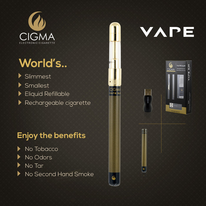 Cigma Vape Black Slim E-Cigarette | 10ml Tobacco Liquid - Cigma - CIGEE