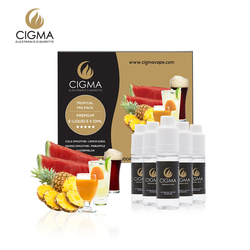 CIGMA 5 X 10ml E-Liquid Tropical Pack | Cola | Pineapple | Watermelon | Mango Smoothie | Lemon Soda | New Premium Quality Formula with Only High Grade Ingredients | VG & PG Mix