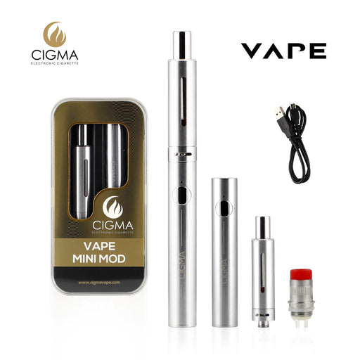 CIGMA Mini Mod 30W 0.6 Ohm Sub ohm Vaping Kit | Rechargeable E-cigarette Battery with LED | Adjustable AIRFLOW | Micro USB Charging | E Cig Glass Tank with Solid Metal Protector | Electronic Cigarette Atomizer Coil | Vape Pen | Free Extra Coil