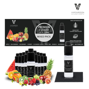 E-liquids,10ml,10 Pack,Cleanser,Vapoursson,Mixed Fruit