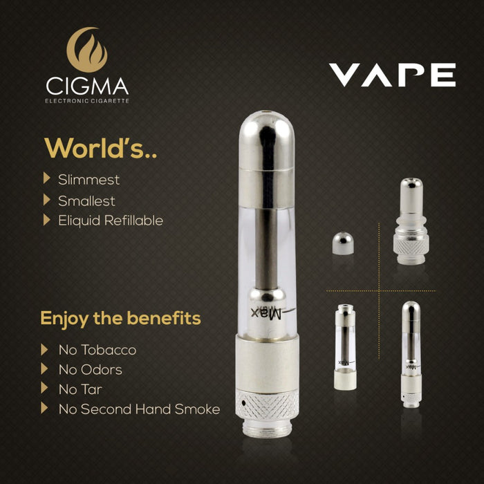 Cigma Vape Slim Clearomizer Chrome - Cigma - CIGEE Clearomizers