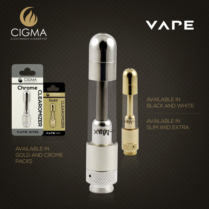 Cigma Vape Extra Larger | Rechargeable E Cigarette Clearomizer Chrome | Cigee