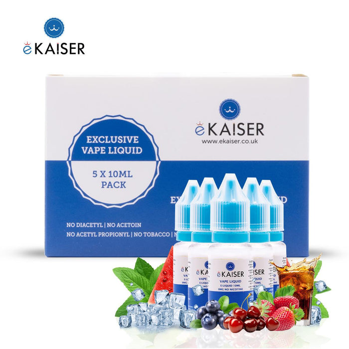E-liquid,10ml,0mg,5 Pack,Fruit Mint,ekaiser