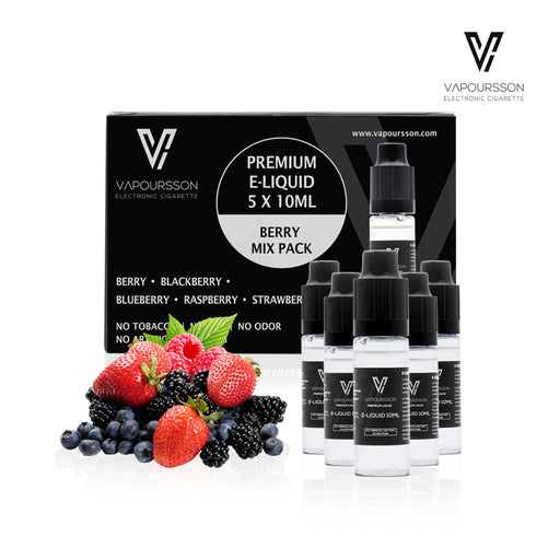 VAPOURSSON 5 X 10ml E Liquid Berry Pack | Berry Mix | Blueberry | Blackberry | Raspberry | Strawberry | Only High-Grade Ingredients | VG & PG Mix