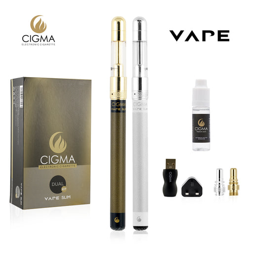 Cigma Vape Slim Full Kit | Worlds Slimmest Smallest Refillable Rechargeable E Cigarette Starter Kit | E Shisha | 2 x Rechargeable battery | 1 x 10ml Tobacco Liquid Nicotine Free | 2 x Refillable Clearomizer | 2 x Coils | Wall Plug | Vaporizer