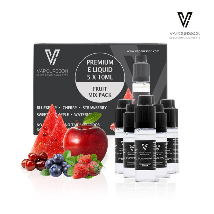 VAPOURSSON 5 X 10ml E Liquid Mixed Fruits| Apple | Blueberry | Cherry | Strawberry | Watermelon