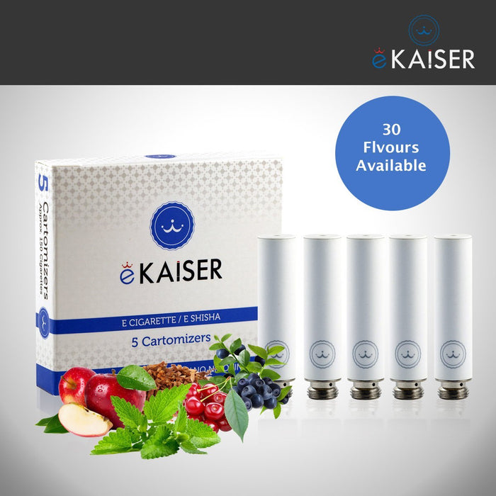 E shisha E Liquid 5 Pack White Cartomizer *Fruit Mix* Apple, Blueberry, Cherry, Peach, Strawberry) - eKaiser - CIGEE Cigarette Cartomizers