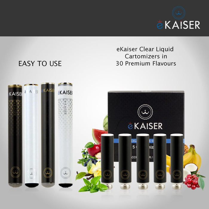 E Cigarette E Liquid 5 Pack Black Cartomizer *Menthol Flavour* - eKaiser - CIGEE Cigarette Cartomizers