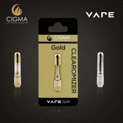 Cigma Vape Clearomizer For Slim Battery | Refillable Clearomizer | Nicotine Free | Gold