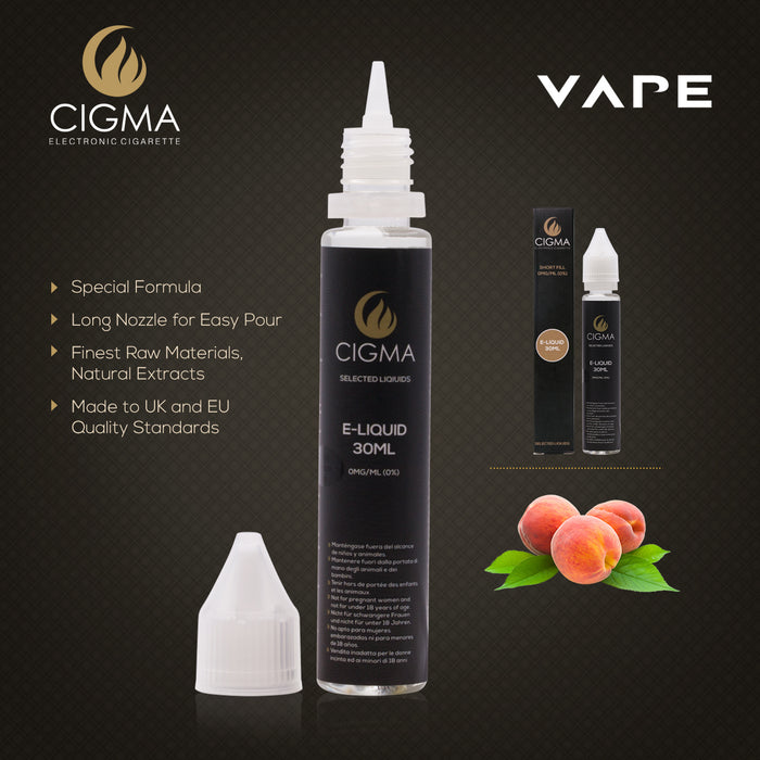 Cigma e-Liquid - Peach 0mg 30ml Shortfil | Cigee