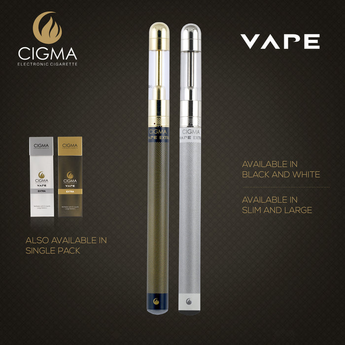Cigma e-Cigarette Dual Extra - Refillable & Rechargeable Starter Kit + 5 x 10ml | Cigee