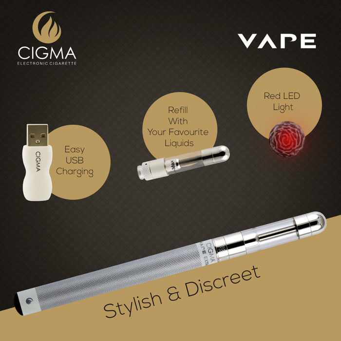 Cigma e-Cigarette Extra White - Refillable & Rechargeable Starter Kit + 5 x 10ml | Cigee
