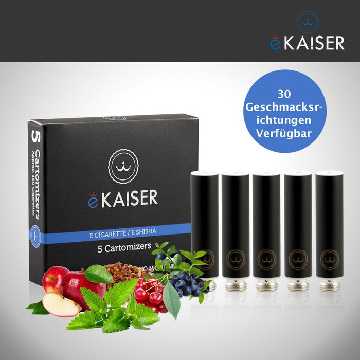 eKaiser e-Cigarette Black Cartomizer - Gold Tobacco 0mg x 5 Pack | Cigee