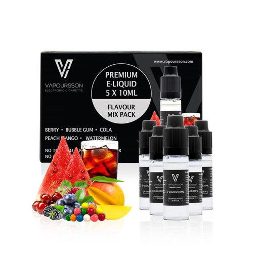Vapoursson e-Liquid - Flavour Mix 0mg 10ml Bottle x 5 Pack | Cigee