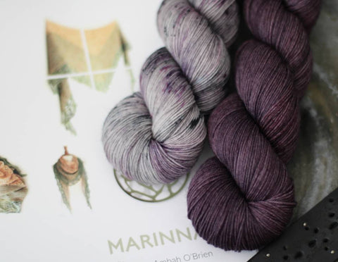 Marinna Shawl Kit - Purples {Slasher Sock} 75/25 SW Merino/Nylon Fingering Weight