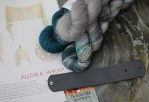 Audra Wrap Kit - Blue/Green & Gray {Slasher Sock} 75/25 SW Merino/Nylon Fingering Weight