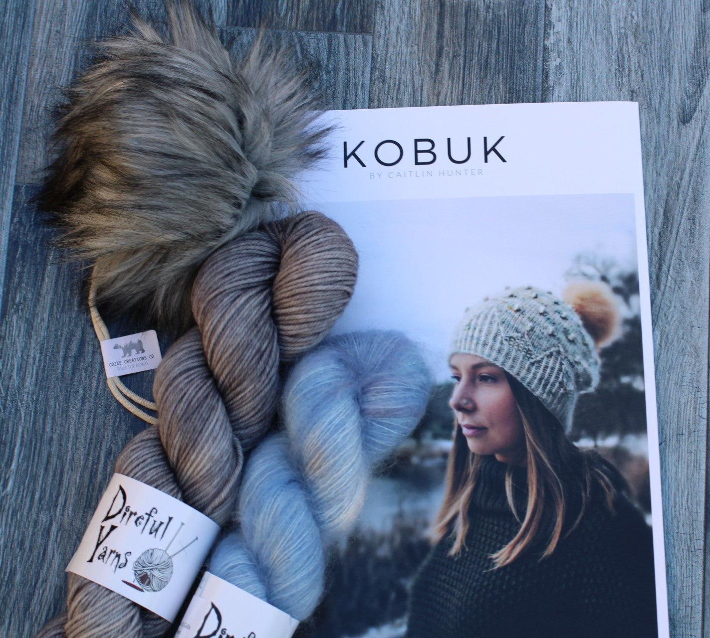 Kobuk Hat Kit - Fog  {Direful DK} + Cornish Pixie {Mystic Mohair} + Gray Pom Pom