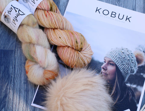 Kobuk Hat Kit - Hansel & Gretel  {Direful DK} +  {Suri Alpaca/ Silk} + Tan Pom Pom